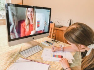 Girl taking online Spanish Classes for Kids course
