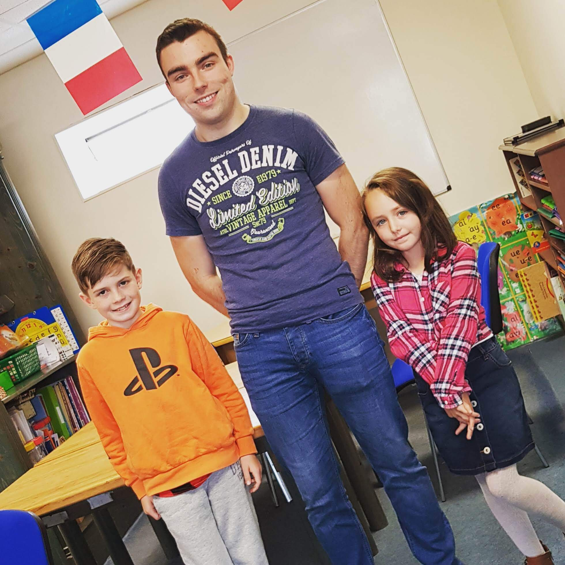 Two students and their teacher at an online French Class for Kids in Limerick
