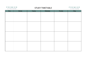 study timetable for Junior and Leaving Cert students