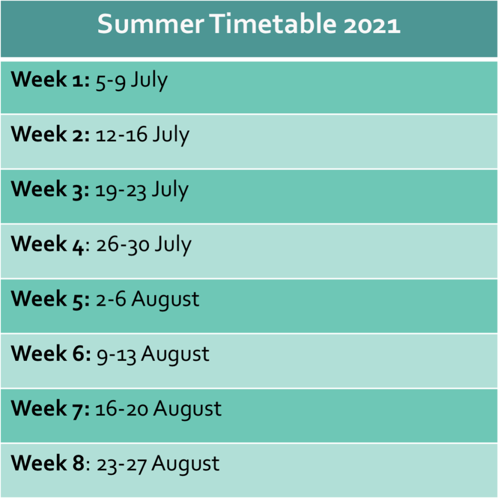 summer classes timetable 2021
