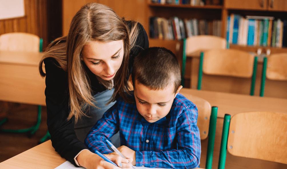 teacher and child 6th class maths course